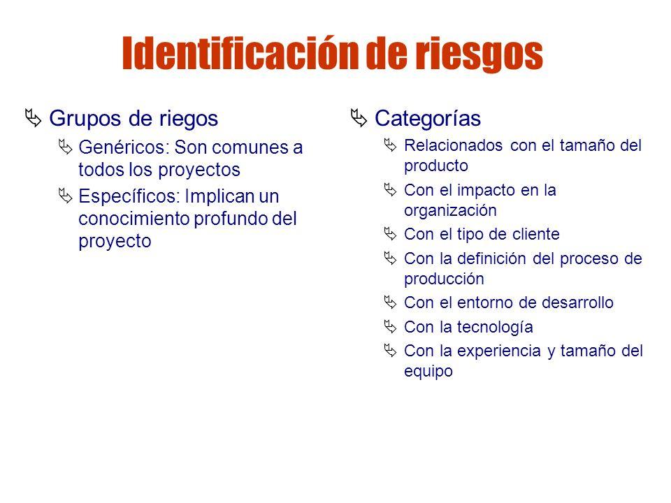 Gestión de riesgos Identificación de riesgos Grupos de riegos Genéricos: Son comunes a todos los proyectos Específicos: Implican un conocimiento profu