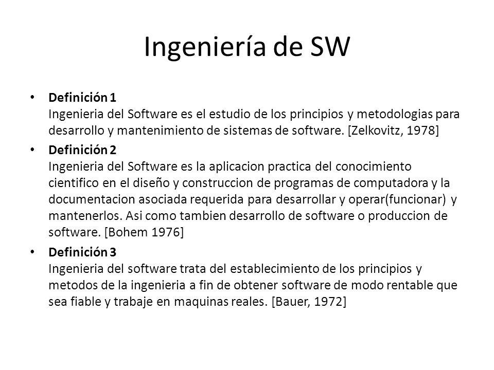 Ingeniería de SW Definición 1 Ingenieria del Software es el estudio de los principios y metodologias para desarrollo y mantenimiento de sistemas de so