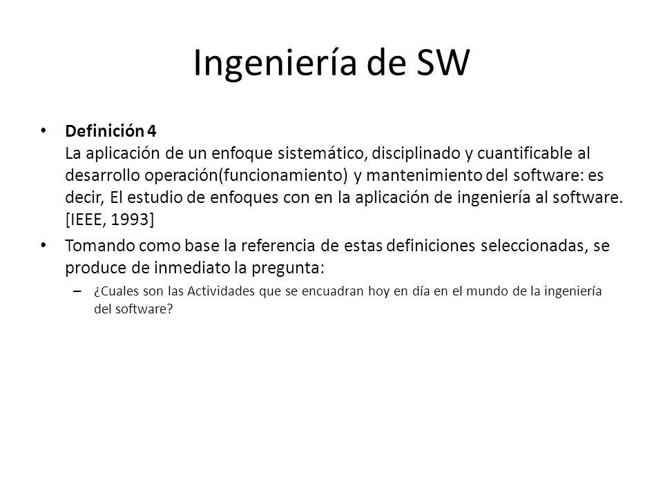 Ingeniería de SW Definición 4 La aplicación de un enfoque sistemático, disciplinado y cuantificable al desarrollo operación(funcionamiento) y mantenim
