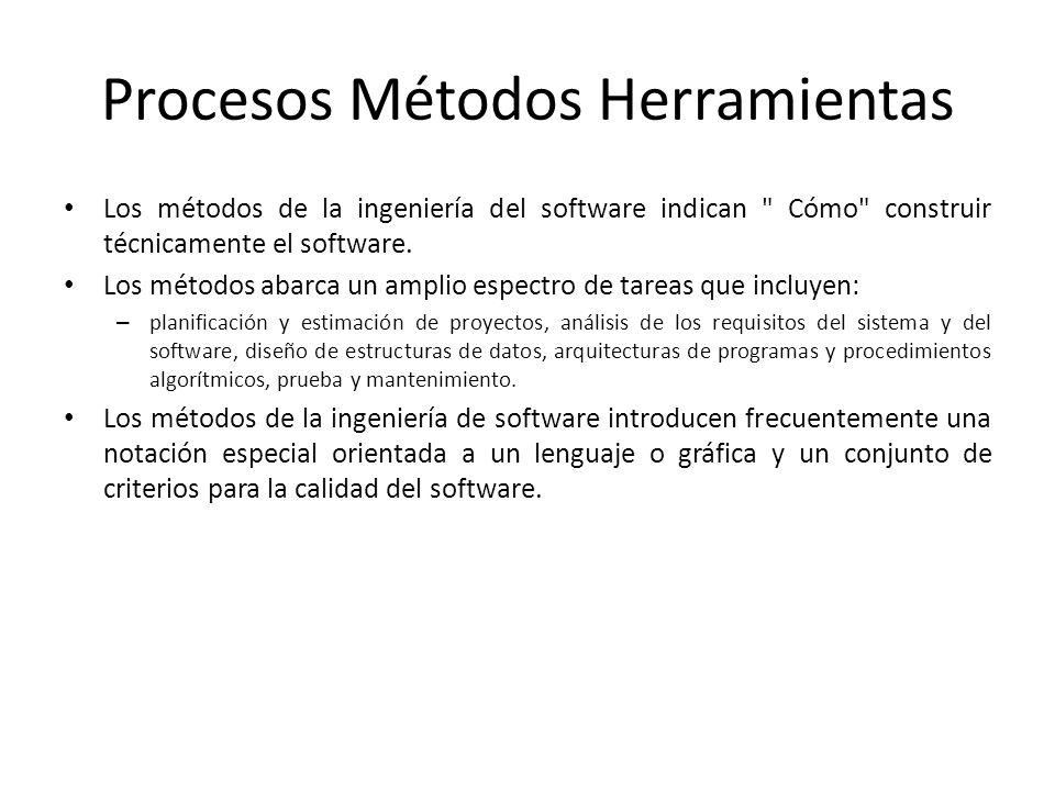 Procesos Métodos Herramientas Los métodos de la ingeniería del software indican