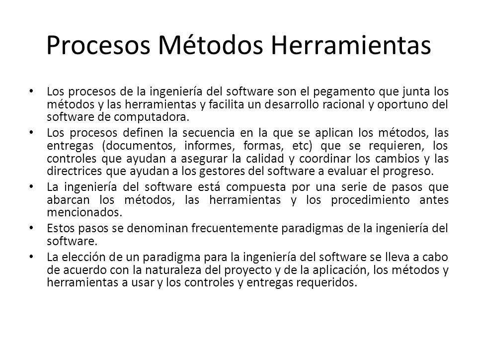 Procesos Métodos Herramientas Los procesos de la ingeniería del software son el pegamento que junta los métodos y las herramientas y facilita un desar