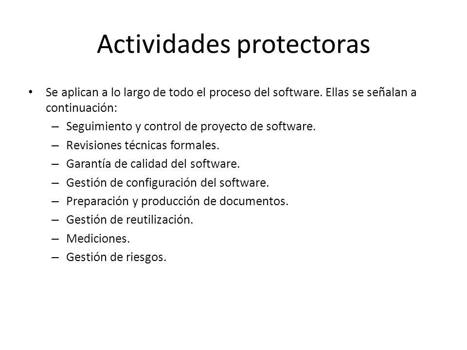 Actividades protectoras Se aplican a lo largo de todo el proceso del software. Ellas se señalan a continuación: – Seguimiento y control de proyecto de