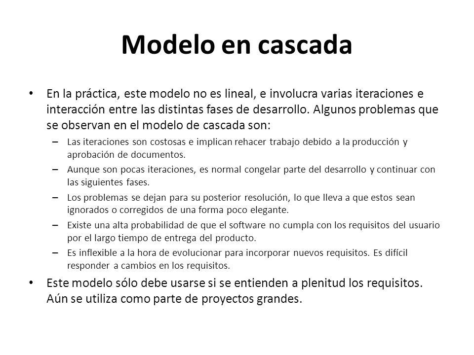 Modelo en cascada En la práctica, este modelo no es lineal, e involucra varias iteraciones e interacción entre las distintas fases de desarrollo. Algu