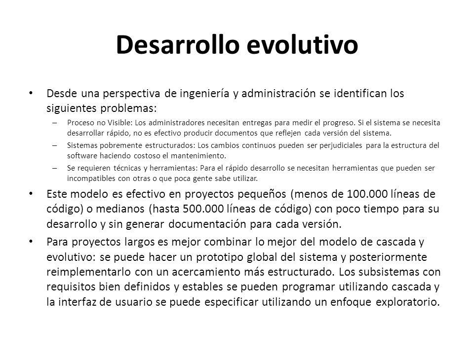 Desarrollo evolutivo Desde una perspectiva de ingeniería y administración se identifican los siguientes problemas: – Proceso no Visible: Los administr