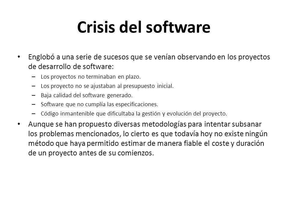 Crisis del software Englobó a una serie de sucesos que se venían observando en los proyectos de desarrollo de software: – Los proyectos no terminaban