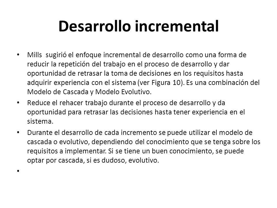 Desarrollo incremental Mills sugirió el enfoque incremental de desarrollo como una forma de reducir la repetición del trabajo en el proceso de desarro