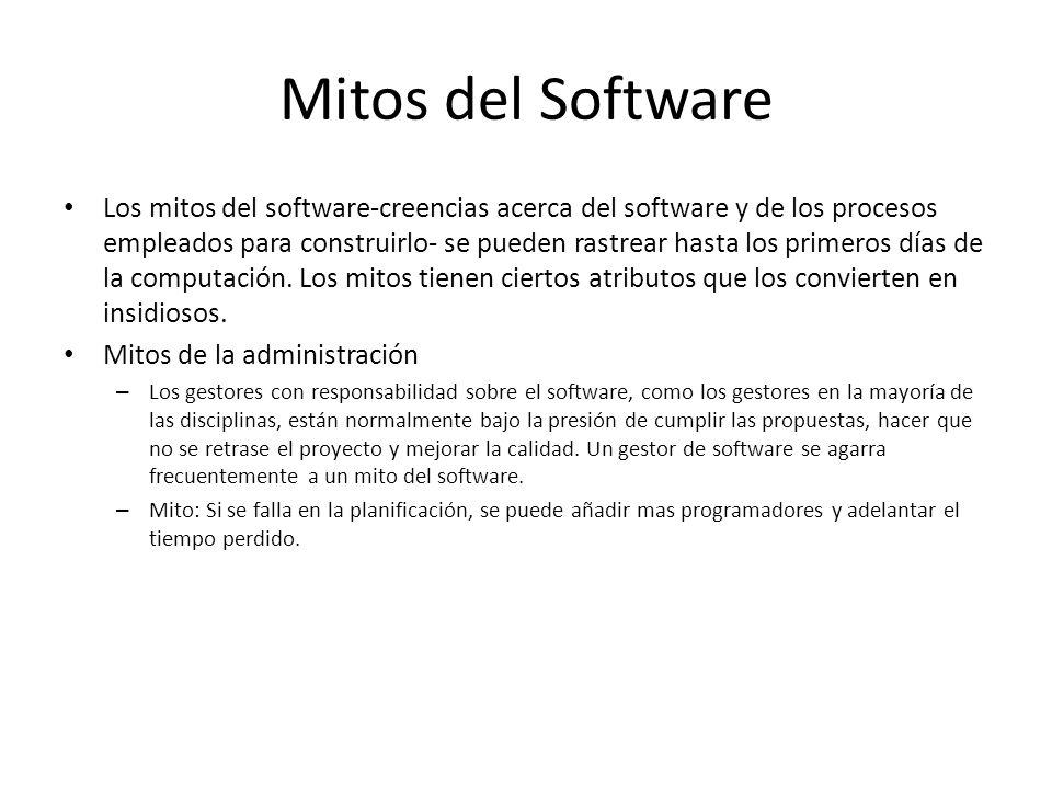 Mitos del Software Mitos del cliente – En muchos casos, el cliente cree en los mitos que existen sobre el software, debido a que los gestores y desarrolladores de software hacen muy poco para corregir la mala información.