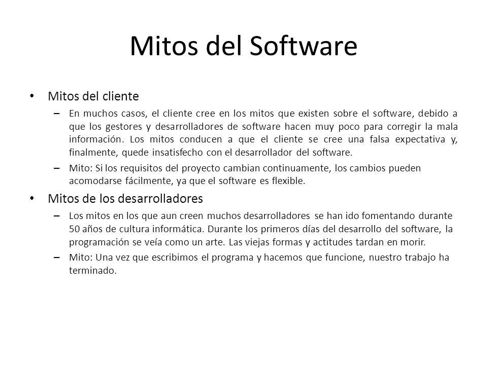 Mitos del Software Mitos del cliente – En muchos casos, el cliente cree en los mitos que existen sobre el software, debido a que los gestores y desarr