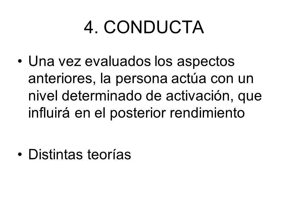 4. CONDUCTA Una vez evaluados los aspectos anteriores, la persona actúa con un nivel determinado de activación, que influirá en el posterior rendimien