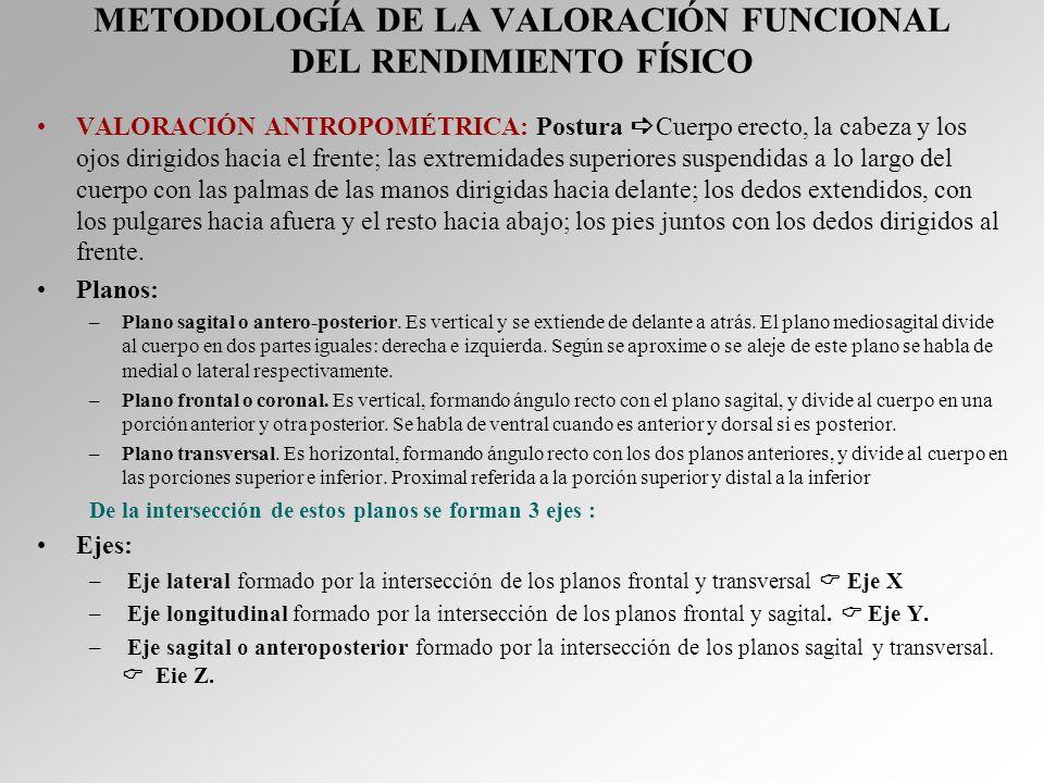 METODOLOGÍA DE LA VALORACIÓN FUNCIONAL DEL RENDIMIENTO FÍSICO VALORACIÓN ANTROPOMÉTRICA: Postura Cuerpo erecto, la cabeza y los ojos dirigidos hacia e