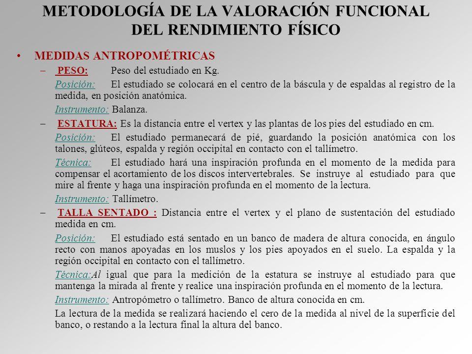 METODOLOGÍA DE LA VALORACIÓN FUNCIONAL DEL RENDIMIENTO FÍSICO MEDIDAS ANTROPOMÉTRICAS – PESO:Peso del estudiado en Kg. Posición:El estudiado se coloca