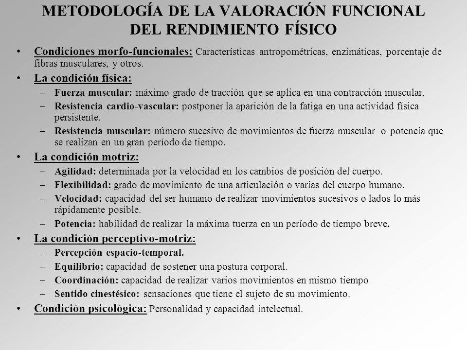 METODOLOGÍA DE LA VALORACIÓN FUNCIONAL DEL RENDIMIENTO FÍSICO Condiciones morfo-funcionales: Características antropométricas, enzimáticas, porcentaje