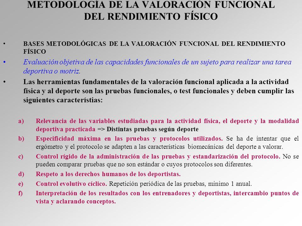 METODOLOGÍA DE LA VALORACIÓN FUNCIONAL DEL RENDIMIENTO FÍSICO BASES METODOLÓGICAS DE LA VALORACIÓN FUNCIONAL DEL RENDIMIENTO FÍSICO Evaluación objetiv