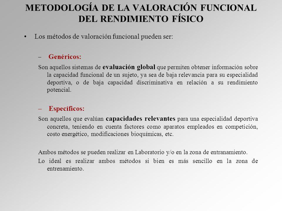 METODOLOGÍA DE LA VALORACIÓN FUNCIONAL DEL RENDIMIENTO FÍSICO Los métodos de valoración funcional pueden ser: – Genéricos: Son aquellos sistemas de ev