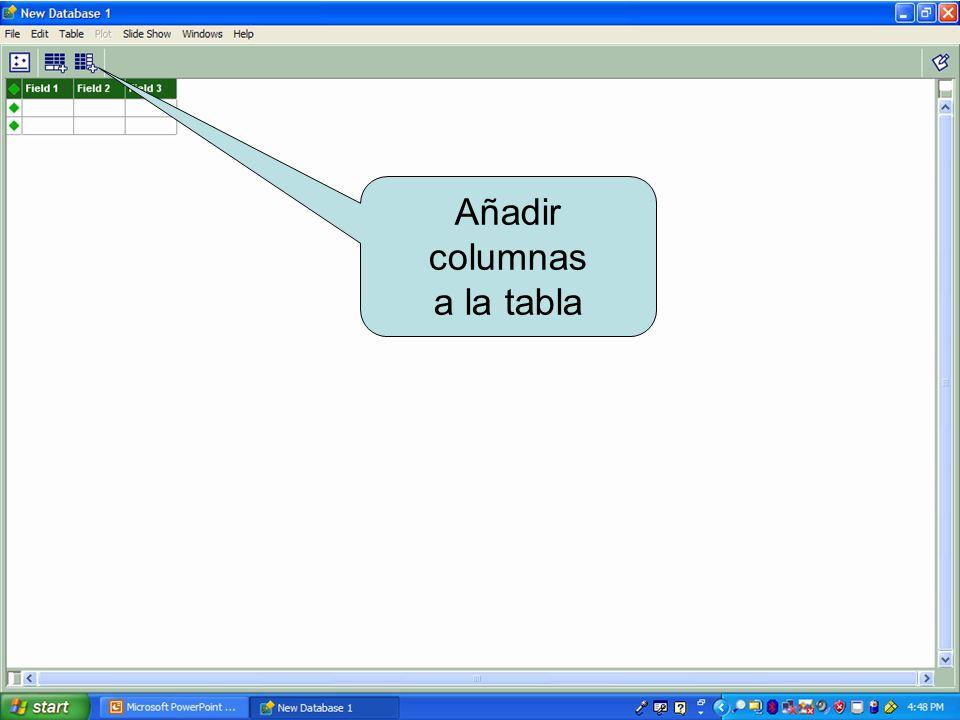 Añadir columnas a la tabla