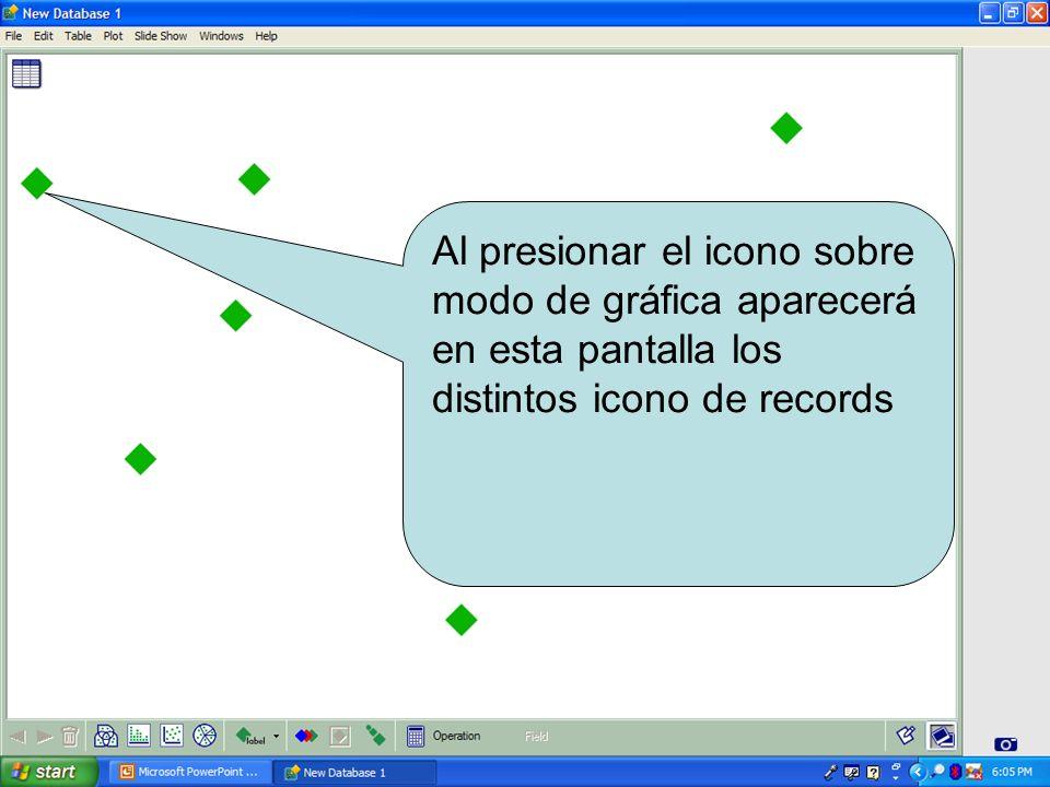 Al presionar el icono sobre modo de gráfica aparecerá en esta pantalla los distintos icono de records
