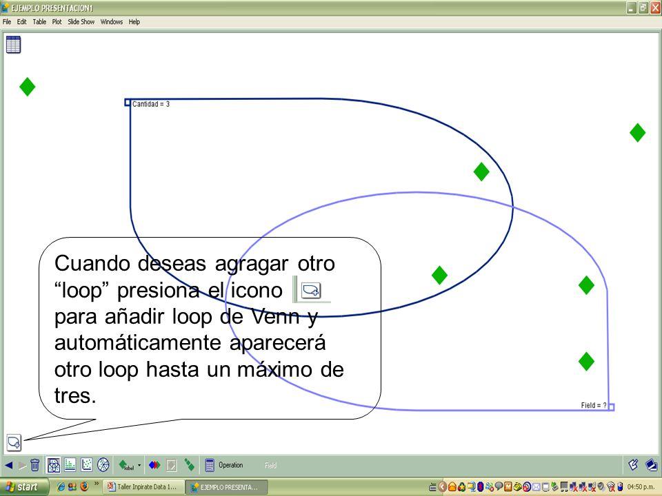 Cuando deseas agragar otro loop presiona el icono para añadir loop de Venn y automáticamente aparecerá otro loop hasta un máximo de tres.