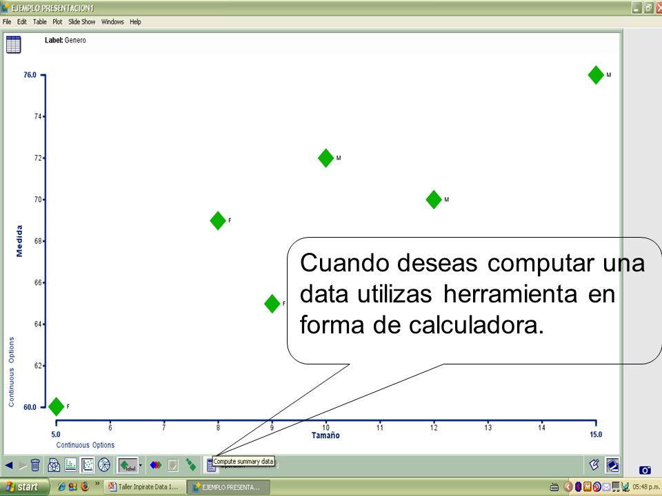 Cuando deseas computar una data utilizas herramienta en forma de calculadora.