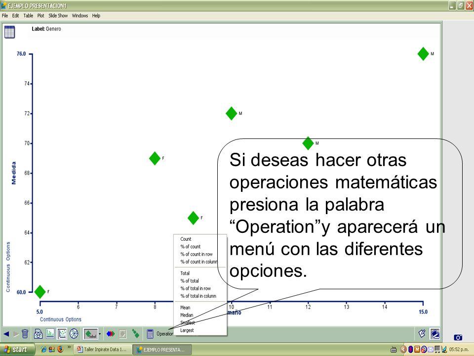 Si deseas hacer otras operaciones matemáticas presiona la palabra Operationy aparecerá un menú con las diferentes opciones.