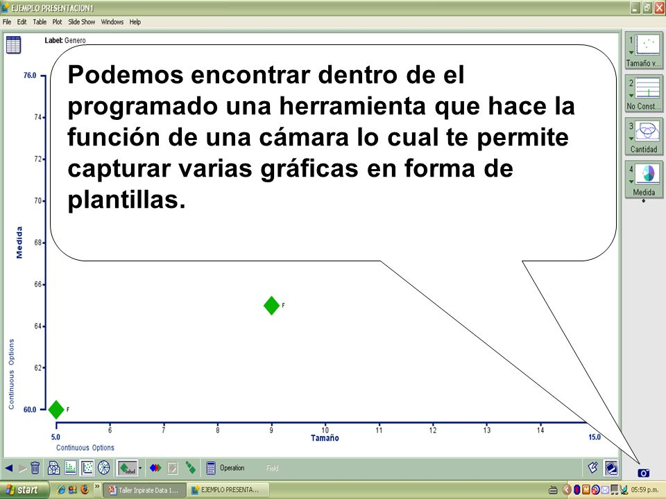 Podemos encontrar dentro de el programado una herramienta que hace la función de una cámara lo cual te permite capturar varias gráficas en forma de plantillas.