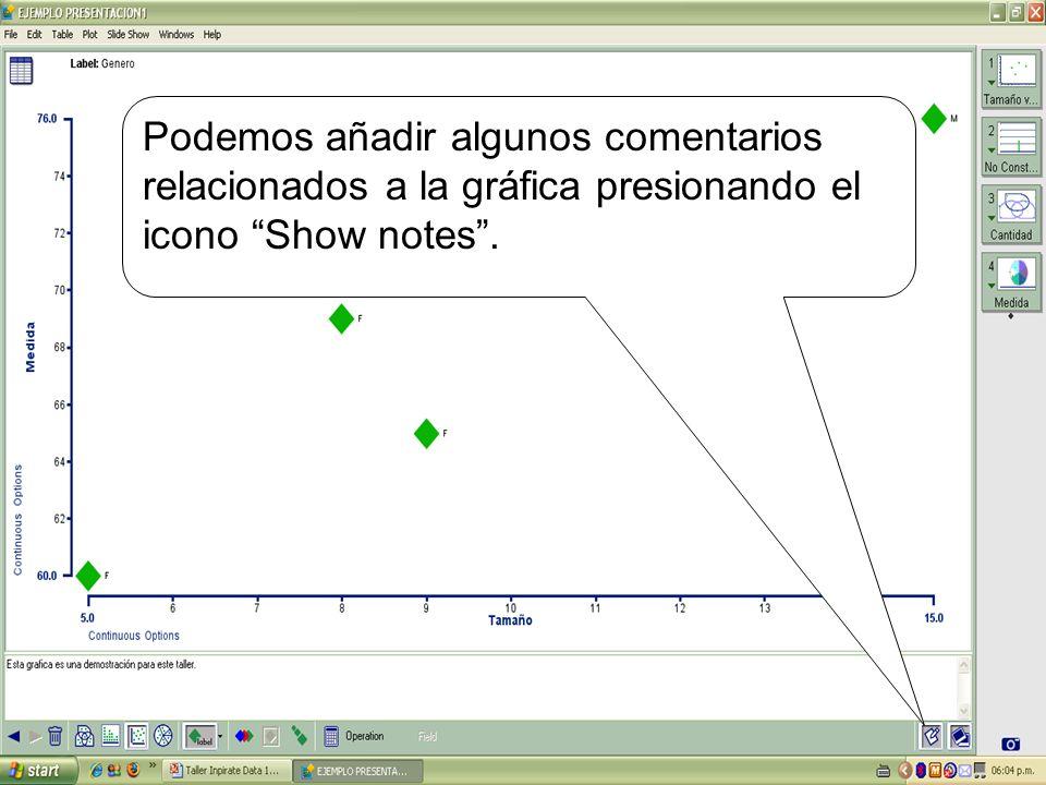 Podemos añadir algunos comentarios relacionados a la gráfica presionando el icono Show notes.