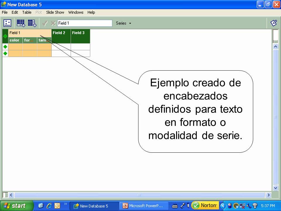 Ejemplo creado de encabezados definidos para texto en formato o modalidad de serie.
