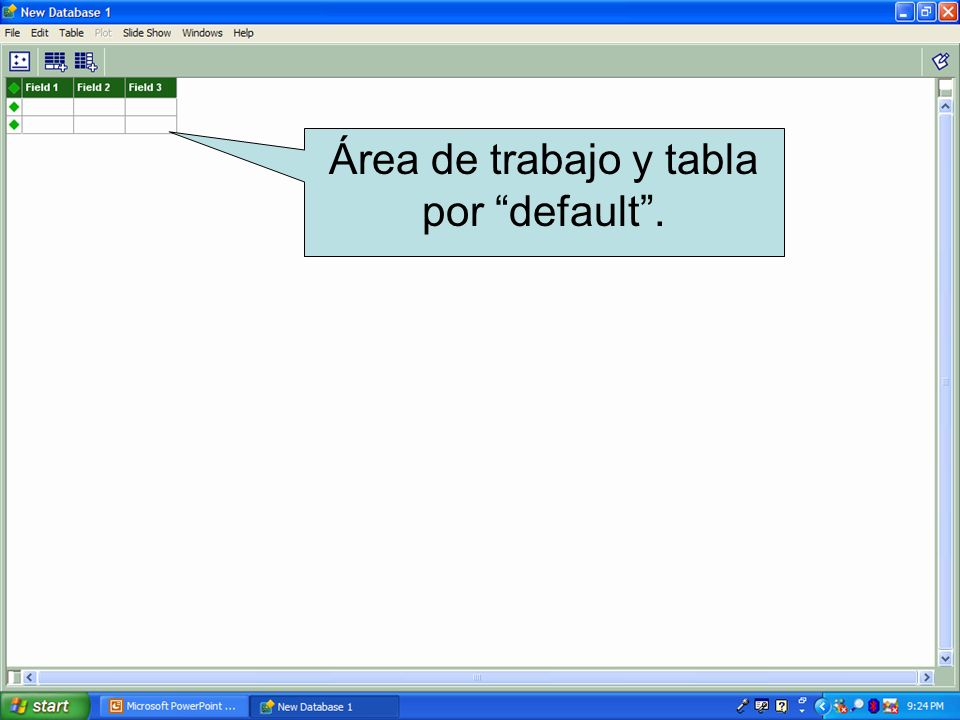 Área de trabajo y tabla por default.