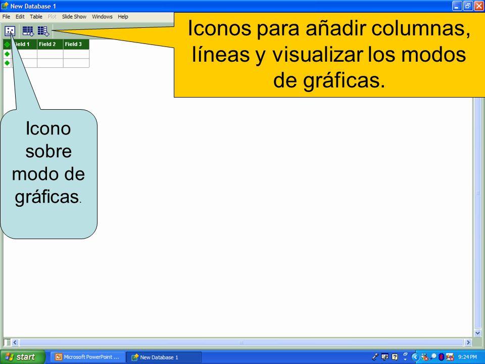 Iconos para añadir columnas, líneas y visualizar los modos de gráficas.