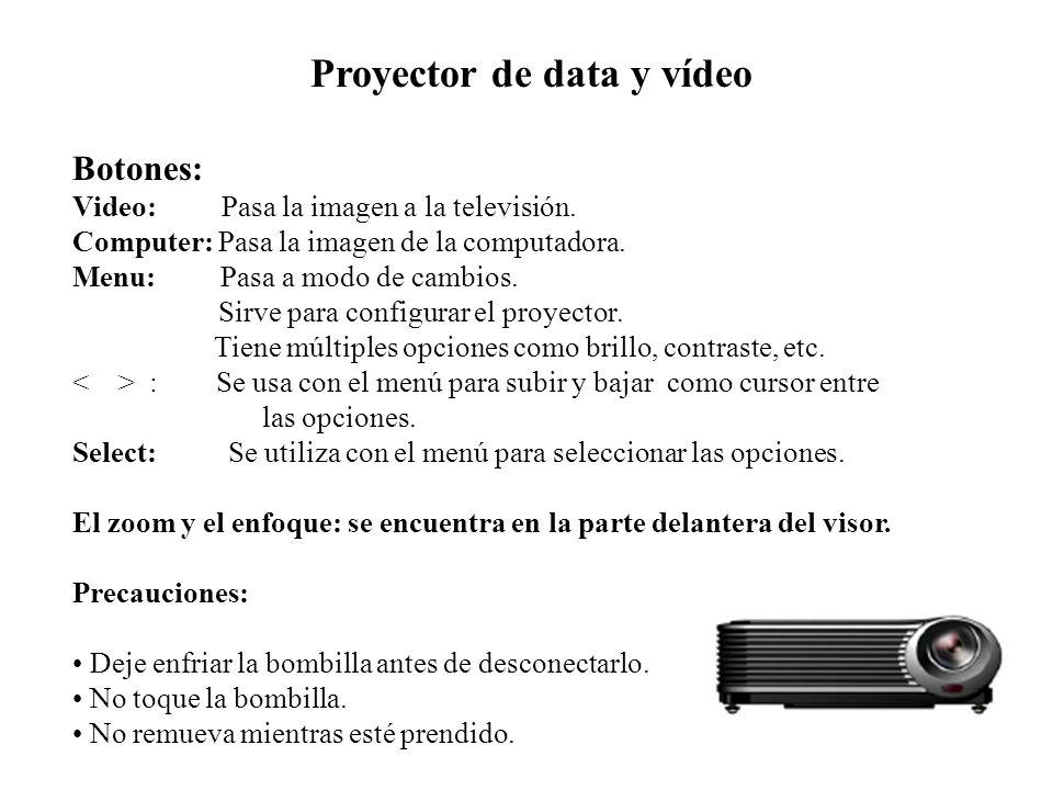 Proyector de data y vídeo Botones: Video: Pasa la imagen a la televisión. Computer: Pasa la imagen de la computadora. Menu: Pasa a modo de cambios. Si