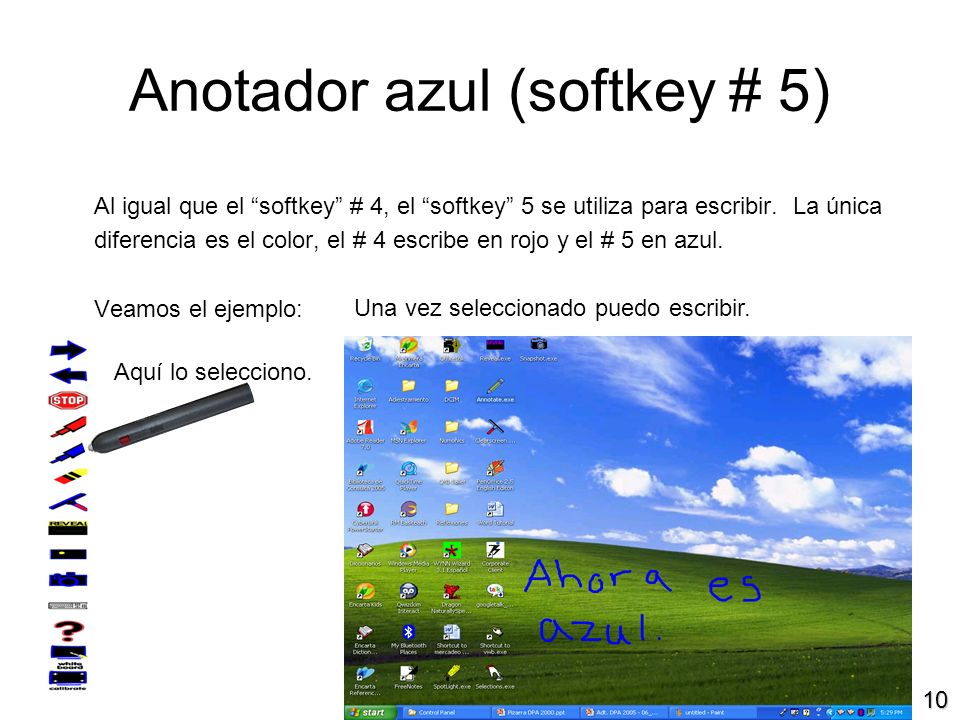 10 Anotador azul (softkey # 5) Al igual que el softkey # 4, el softkey 5 se utiliza para escribir.