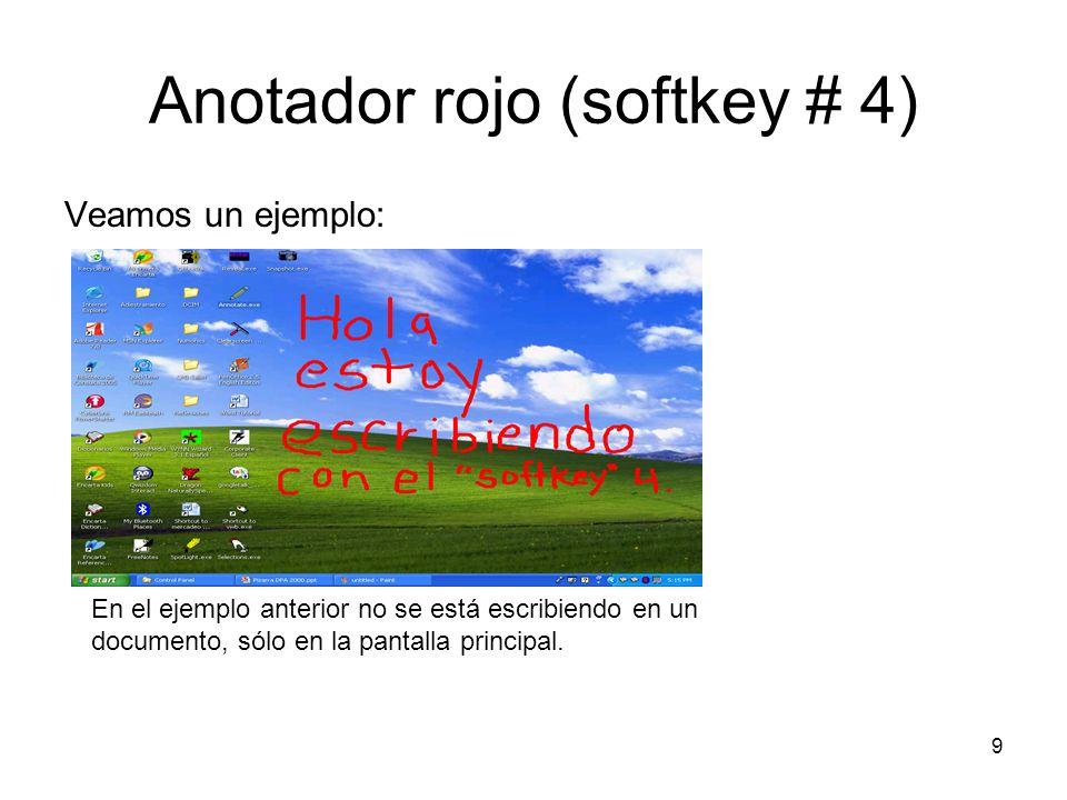 9 Anotador rojo (softkey # 4) Veamos un ejemplo: En el ejemplo anterior no se está escribiendo en un documento, sólo en la pantalla principal.