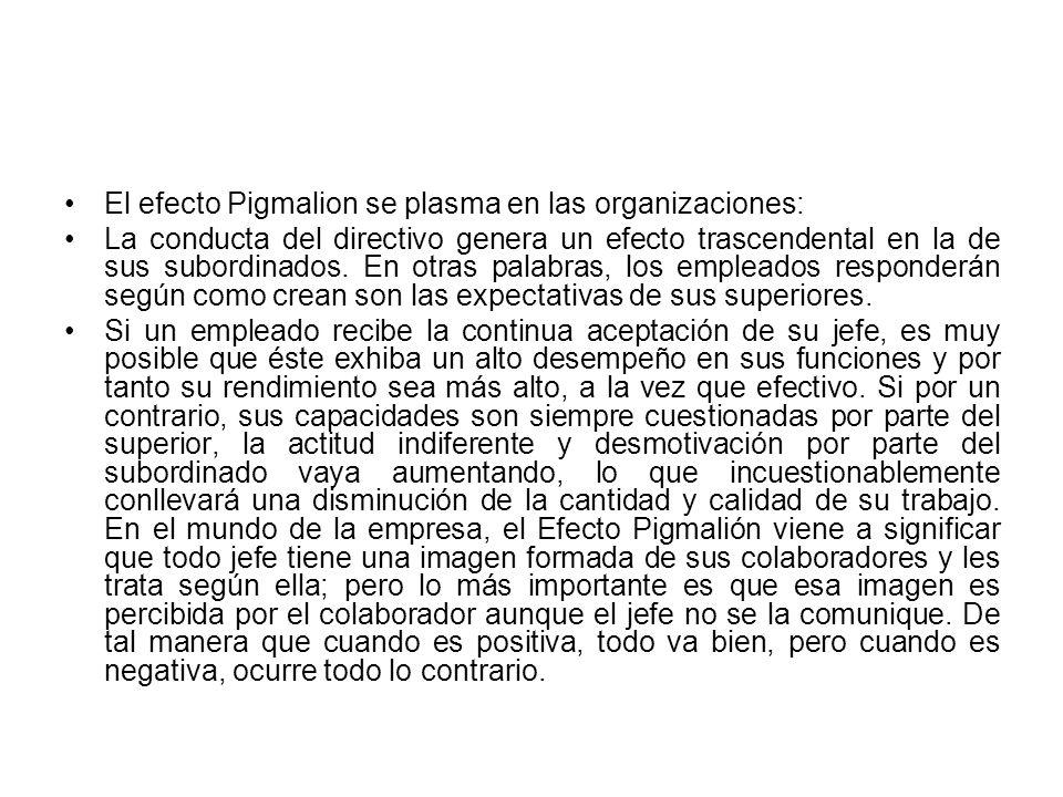 El efecto Pigmalion se plasma en las organizaciones: La conducta del directivo genera un efecto trascendental en la de sus subordinados. En otras pala