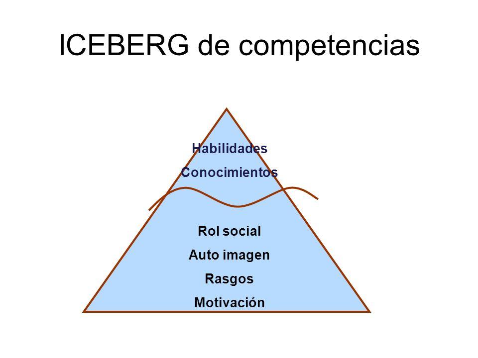 Habilidades Conocimientos Rol social Auto imagen Rasgos Motivación ICEBERG de competencias