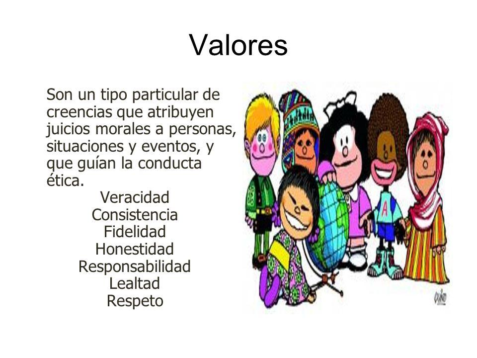 Valores Son un tipo particular de creencias que atribuyen juicios morales a personas, situaciones y eventos, y que guían la conducta ética. Veracidad