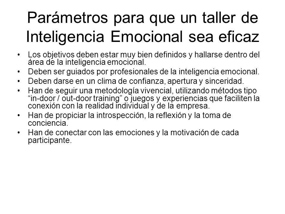 Parámetros para que un taller de Inteligencia Emocional sea eficaz Los objetivos deben estar muy bien definidos y hallarse dentro del área de la inteligencia emocional.