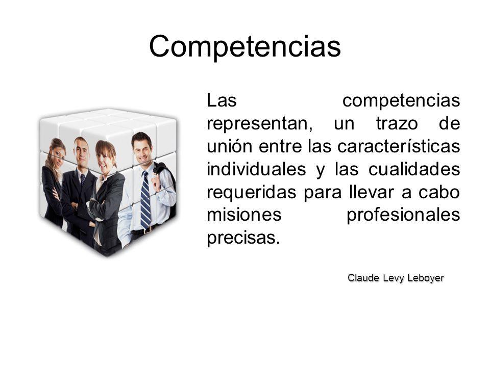 Competencias Las competencias representan, un trazo de unión entre las características individuales y las cualidades requeridas para llevar a cabo misiones profesionales precisas.