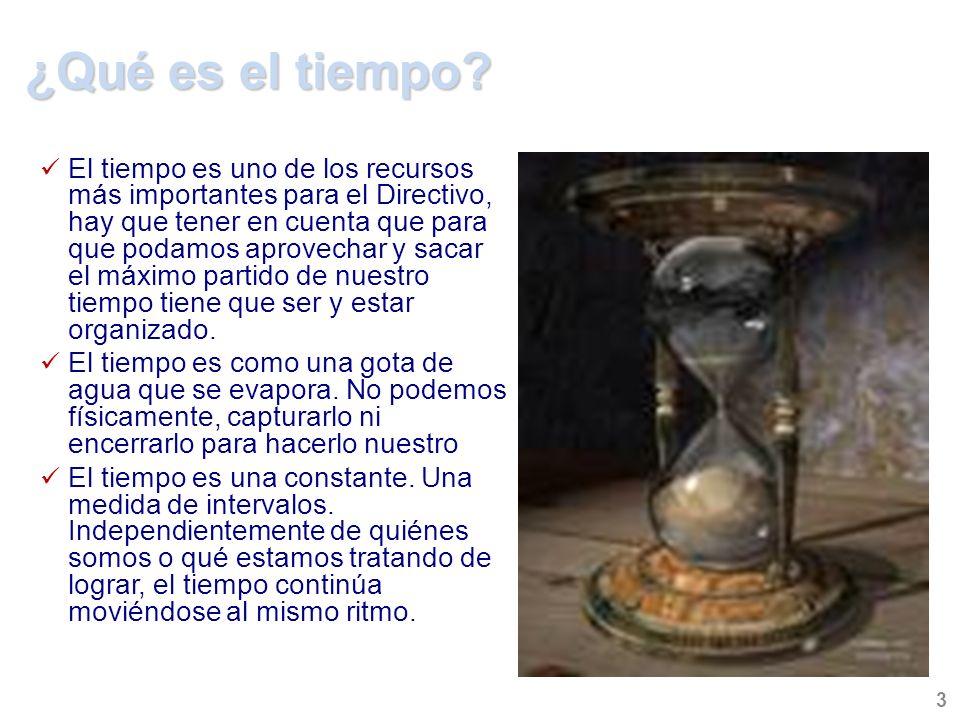 ¿Qué es el tiempo? El tiempo es uno de los recursos más importantes para el Directivo, hay que tener en cuenta que para que podamos aprovechar y sacar