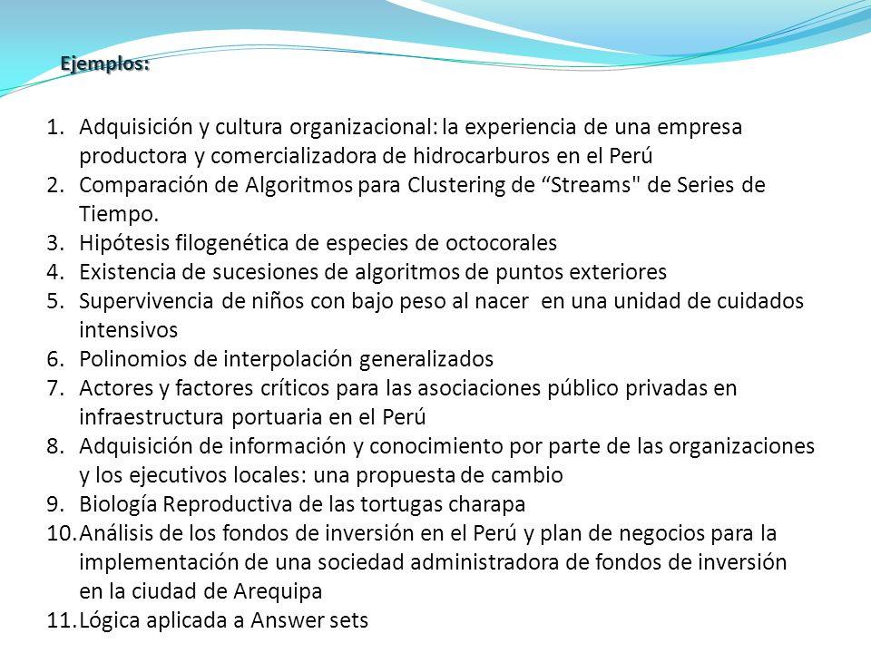 1.Adquisición y cultura organizacional: la experiencia de una empresa productora y comercializadora de hidrocarburos en el Perú 2.Comparación de Algor