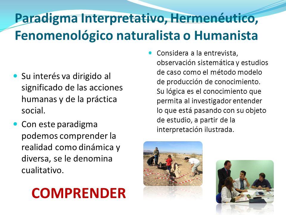 Paradigma Interpretativo, Hermenéutico, Fenomenológico naturalista o Humanista Su interés va dirigido al significado de las acciones humanas y de la p