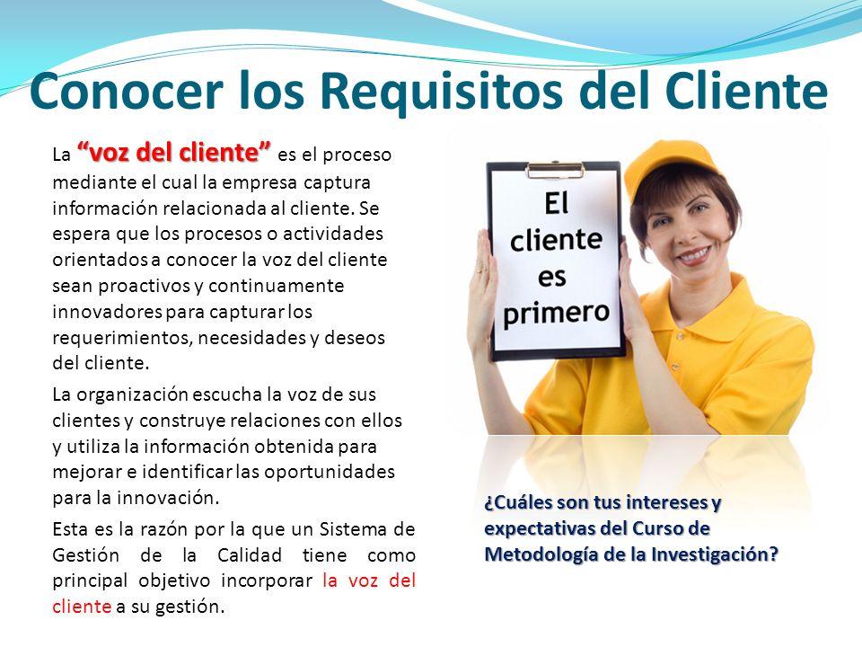 Conocer los Requisitos del Cliente voz del cliente La voz del cliente es el proceso mediante el cual la empresa captura información relacionada al cli