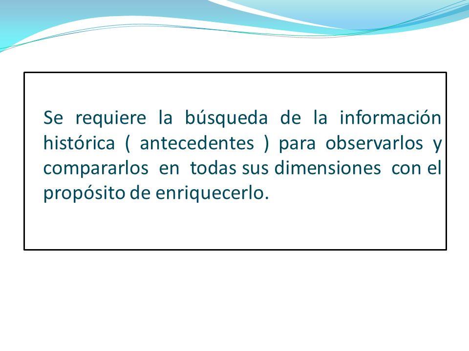 Se requiere la búsqueda de la información histórica ( antecedentes ) para observarlos y compararlos en todas sus dimensiones con el propósito de enriq