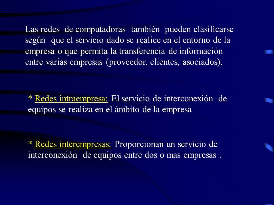 REDES DE COMPUTADORAS Según servicio se clasifican en: * Redes para servicios básicos de transmisión (SBT). * Redes para servicios básicos de transmis