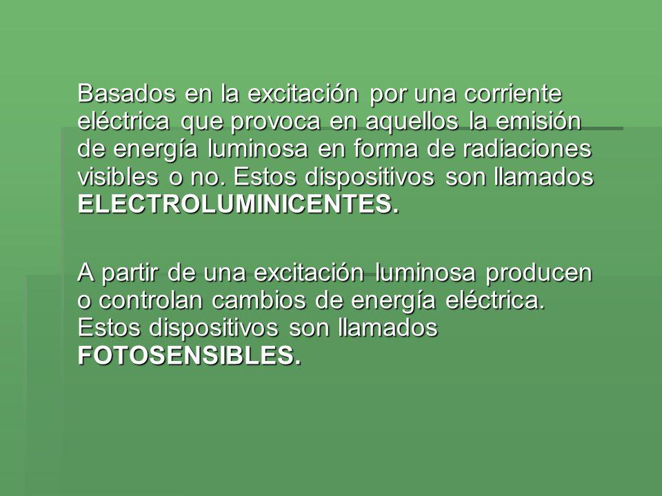 Basados en la excitación por una corriente eléctrica que provoca en aquellos la emisión de energía luminosa en forma de radiaciones visibles o no. Est