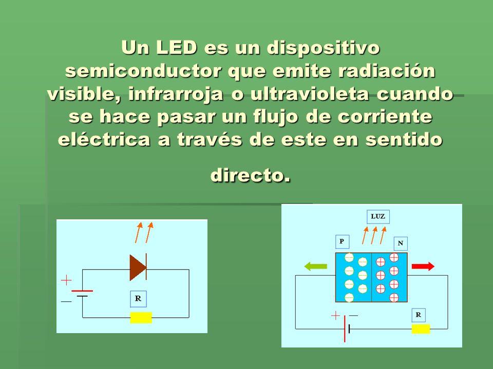 Un LED es un dispositivo semiconductor que emite radiación visible, infrarroja o ultravioleta cuando se hace pasar un flujo de corriente eléctrica a t