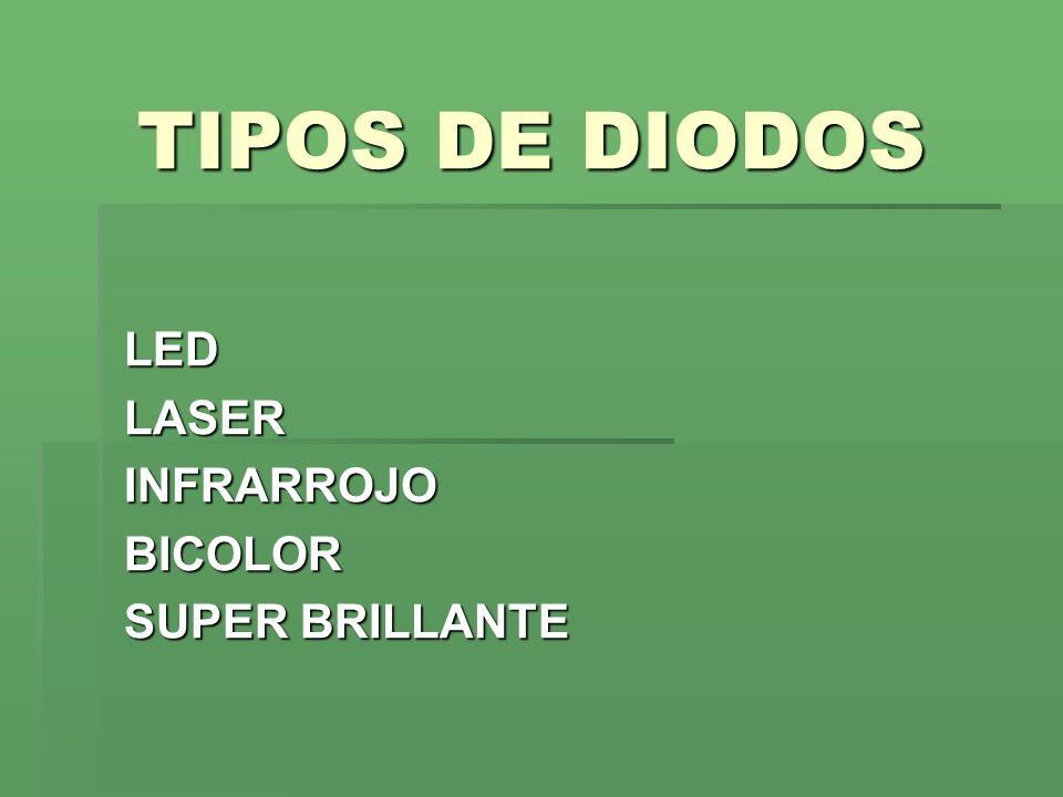 TIPOS DE DIODOS LEDLASERINFRARROJOBICOLOR SUPER BRILLANTE