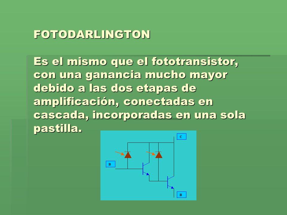 FOTODARLINGTON Es el mismo que el fototransistor, con una ganancia mucho mayor debido a las dos etapas de amplificación, conectadas en cascada, incorp