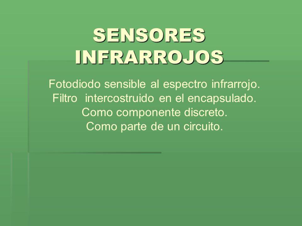 SENSORES INFRARROJOS Fotodiodo sensible al espectro infrarrojo. Filtro intercostruido en el encapsulado. Como componente discreto. Como parte de un ci