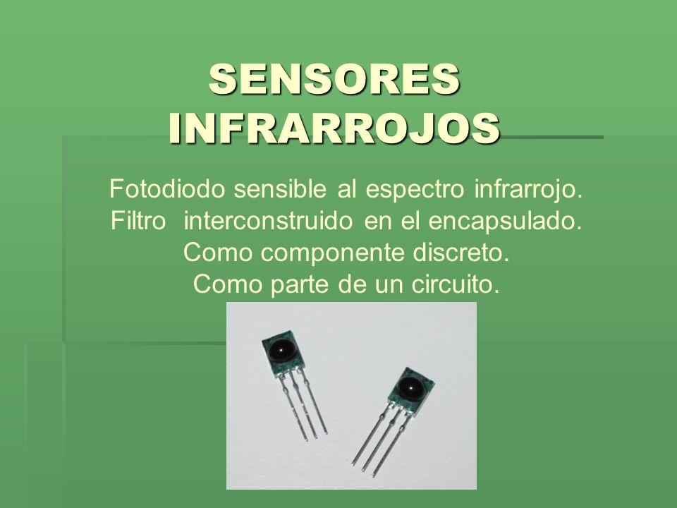 Fotodiodo sensible al espectro infrarrojo. Filtro interconstruido en el encapsulado. Como componente discreto. Como parte de un circuito. SENSORES INF