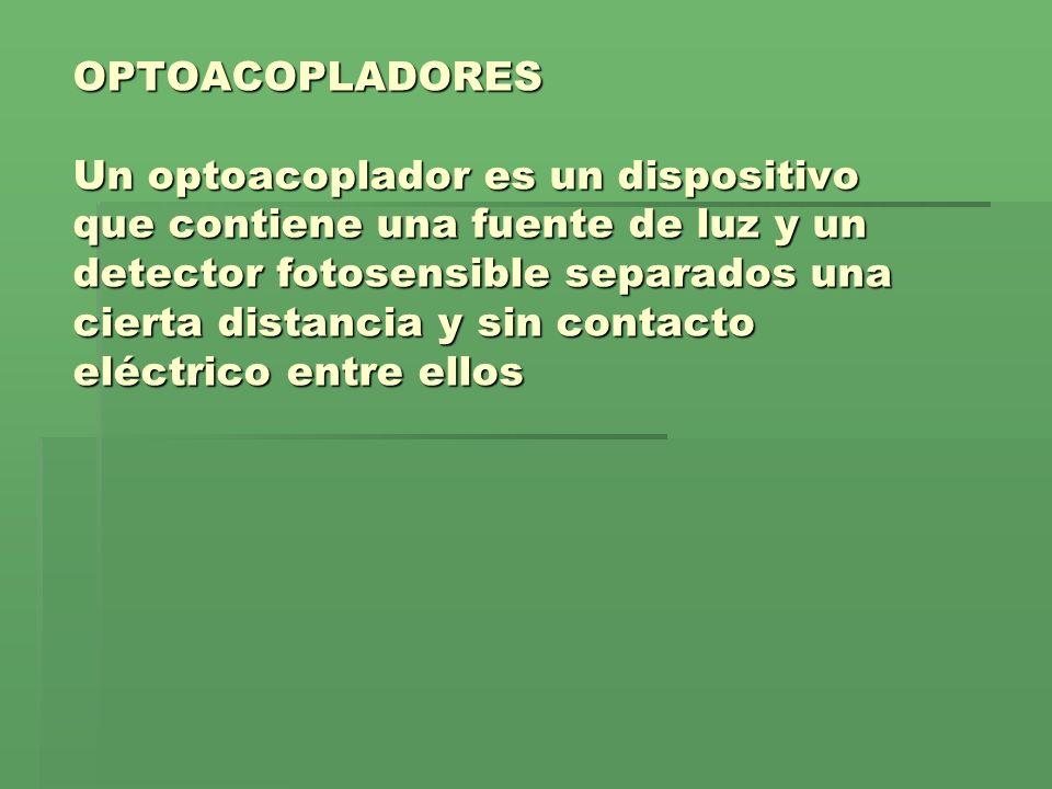 OPTOACOPLADORES Un optoacoplador es un dispositivo que contiene una fuente de luz y un detector fotosensible separados una cierta distancia y sin cont