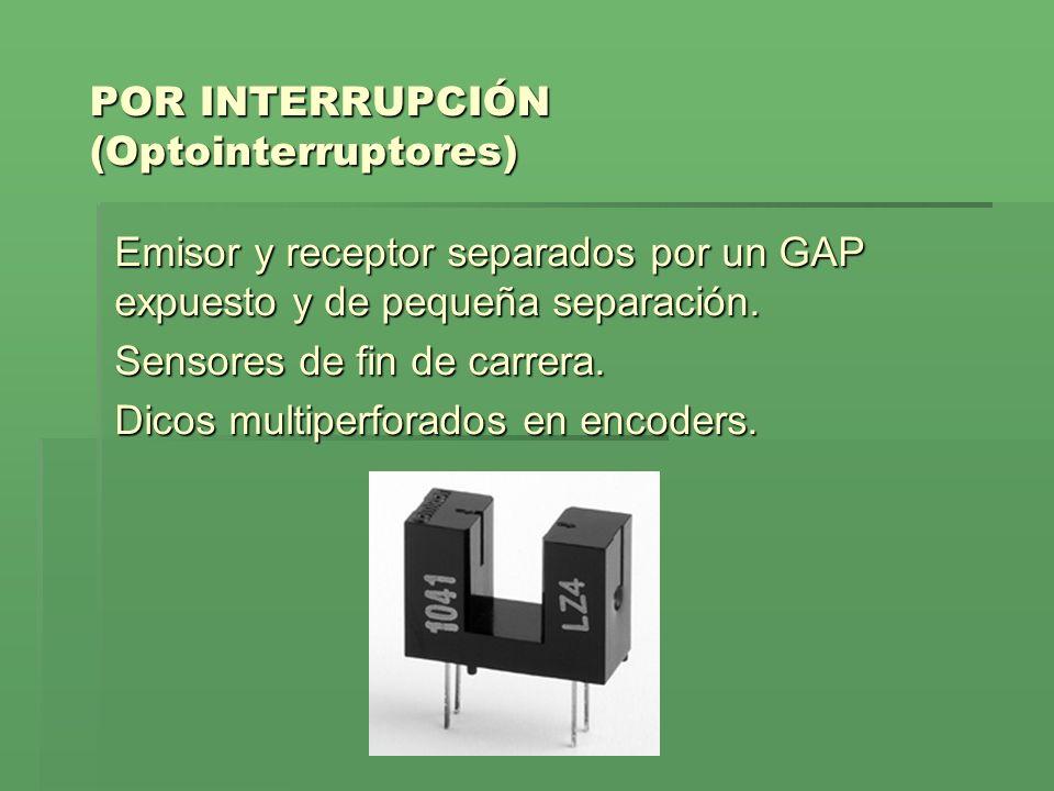 POR INTERRUPCIÓN (Optointerruptores) Emisor y receptor separados por un GAP expuesto y de pequeña separación. Sensores de fin de carrera. Dicos multip